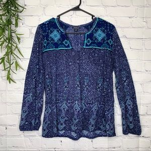 Lucky brand boho embroidered 3/4 sleeve blouse XL